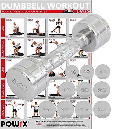 POWRX - 1 x Mancuerna cromada 4 kg - ideal para intensificar la ...