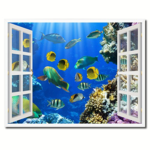 Tropical Island Fish Picture French Window Art Framed Print on Canvas Office Wall Home Decor Collection Gift Ideas, ()