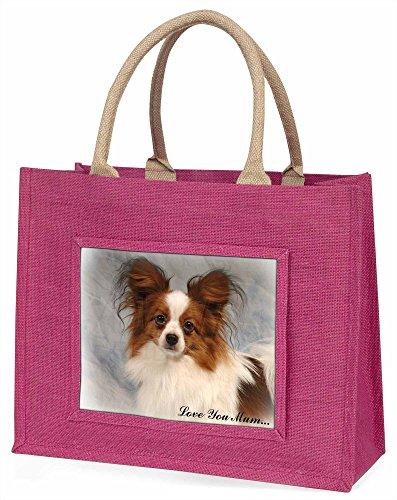 Advanta Papillon Hund, Love You Mum Große Einkaufstasche Weihnachten Geschenk Idee, Jute, Rosa, 42x 34,5x 2cm