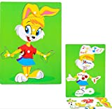 YChoice Educational Puzzle Kids Creative Wooden Educational Puzzle Early Learning Toy Fantastic Gifts Kids(Rabbit)
