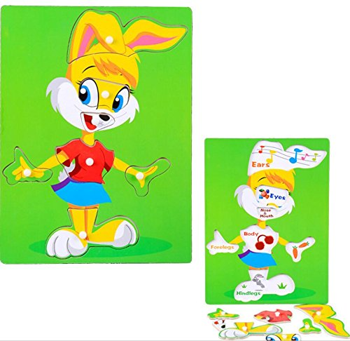 YChoice Educational Puzzle Kids Creative Wooden Educational Puzzle Early Learning Toy Fantastic Gifts Kids(Rabbit) by YChoice