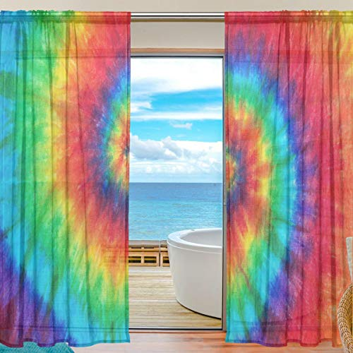 MAHU Sheer Curtains Abstract Tie Dye Swirl Print Window Voile Curtain Drapes for Living Room Bedroom Kitchen Home Decor 55x84 inches, 2 Panels]()