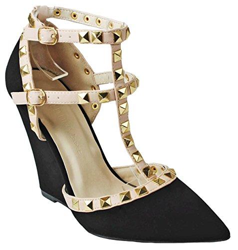 Ankle Cuff Pumps - Designer Chloe Black Nubuck T-Strap Rivet Studded Ankle Cuff High Wedge Heel Dress Pumps-9