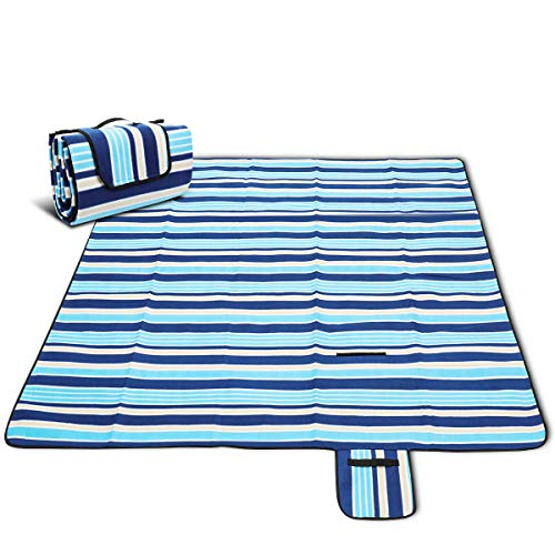 Picnic Blanket, CAMTOA Extra Large Outdoor Blanket with Tote, 80 X 80'' (200 X 200 CM), Foldable and Waterproof Sandproof Handy Mat for Family Camping on Grass, Beach, Outdoor Picnic, Hiking, Park&etc by CAMTOA
