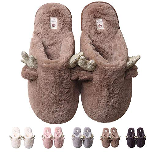 Cute Deers Men for Gifts Winter Women Slippers 2 Coffee Shoes Fuzzy Slippers House Warm rrwaqpd