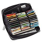 36 Slots Credit Card Wallet Leather RFID Wallet for Women Men, Huge Storage Capacity Genuine Leather Holder Multi Card Organizer Wallet with Zipper (Black)