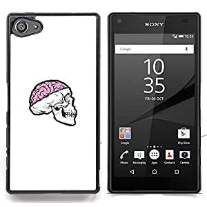 "Qstar Arte & diseño plástico duro Fundas Cover Cubre Hard Case Cover para Sony Xperia Z5 Compact Z5 Mini (Not for Normal Z5) (Cráneo rosado del cerebro"")"