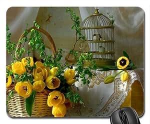 Birdcage Mouse Pad, Mousepad (Flowers Mouse Pad)