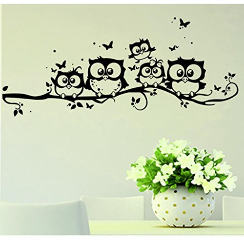 Photno Kids Vinyl Art Cartoon Owl Butterfly Wall Sticker Decor Home Decal Black ()