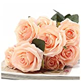 SODIAL(R) 1 bouquet 10 Head Artificial Silk cloth Rose Wedding Bridal Flower Bouquet Home Party Decor Light peach