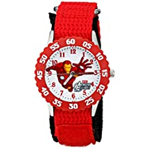 Marvel Comics Kid's W001535 The Avengers Iron Man Red Stainless Steel Watch, Nylon Band
