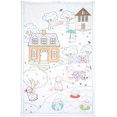 Jack Dempsey Needle Art 940683 The The Village of Sunbonnet Sue Hand Embroidery, White (Embroidery Lap Quilt)