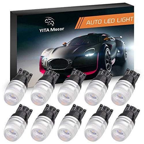 YITAMOTOR White 240 Lumens T10 W5W 194 168 192 Wedge 1W LED Light Bulbs Dome Map Door License Plate Trunk Clearance Side Dashboard Lights (10 Pieces)
