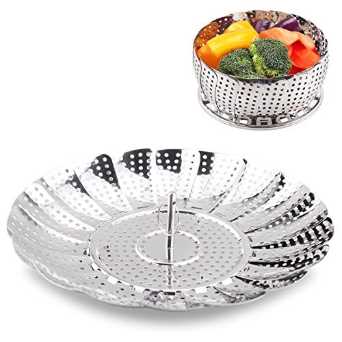 Assembly Steamer Basket (Vegetable Steamer Basket 100% Stainless Steel Folding Collapsible Basket for Various Size Pots 5.5-Inch Expands to 9-Inch by FULITY)
