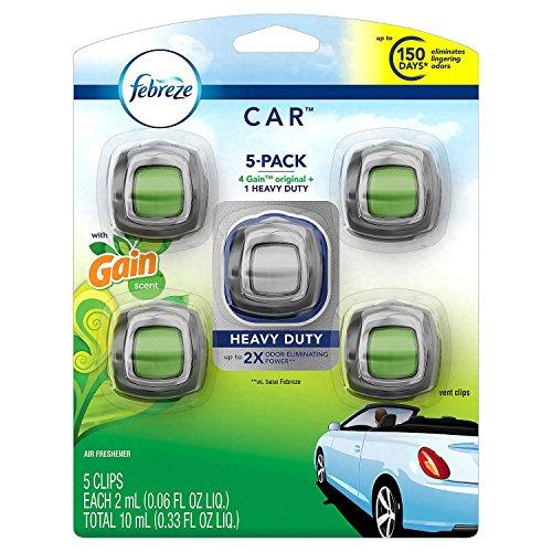 Febreze Gain Scent Car Air Freshener, 5 Vent Clips (Freshener Vent)