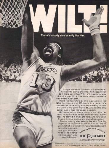 1973 The Equitable Life Insurance Wilt Chamberlain Nba Great Vintage Original Magazine Print Ad