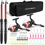 Telescopic Fishing Pole Combo Set, All-in-one 1.7m/5.57ft Full Kit 2PCS Collapsible Rods + 2PCS Spinning Reels