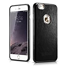 iPhone 6 Plus / 6S Plus Case, ICARER [Vintage Classic Series] Luxury Premium Genuine Real Leather Case Back Cover with [Ultra Slim] for Apple iPhone 6 Plus / 6S Plus Case 5.5 Inch (Black)