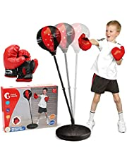 CUTE STONE Punching Bag with Boxing Gloves, Boxing Bag for Kids, Boxing Toy with Adjustable Stand for Kids Boys Girls