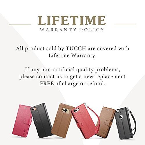 Custodia iPhone 7 Plus, TUCCH Cover in Pelle [GARANZIA DI VITA], [Pellicole Protettive], Supporto Stand, Carta Fessura e Protettiva Flip Wallet Case per iPhone 7 Plus, con Chiusura Magnetica, Marrone