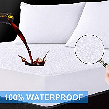LANIAKEA Waterproof Mattress Protector King-Size Soft Premium Cotton, Breathable & Noiseless Mattress Pad Cover, Fitted 14