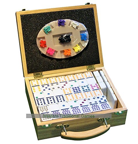 Masters Traditional Games Double 15 Dominoes - Mexican Train Dominoes in Wooden Case
