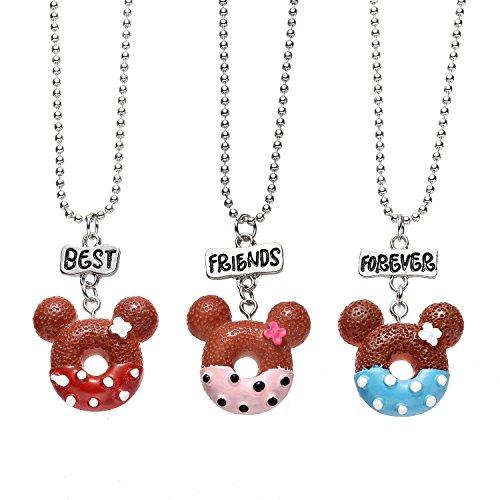 MayLove 2pcs Best Buds Necklace Miniature Cookies Biscuit Cookie Milk Necklaces Pendant Charm Set