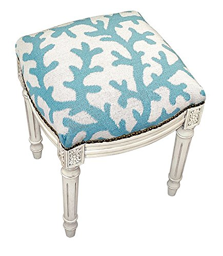 Needlepoint Stool (Stools - Coral Gables Needlepoint Stool - Vanity Seat - Blue - Upholstered Stool - Accent Furniture)