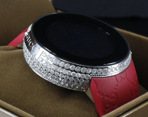 3be3ccbf120 I Gucci Real Diamond Custom Red I-gucci Watch Iced Rubber Band 5 ...