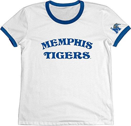 Blue 84 NCAA Memphis Tigers Women's Vintage Supima Ringer Tee, Medium, ()
