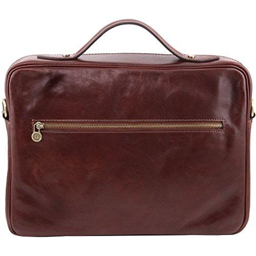 Tuscany Leather - Vicenza - Notebooktasche aus Leder mit Reißverschluss Braun - TL141240/1 Braun WOJeHd5A