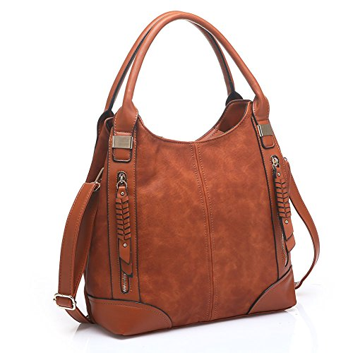 UTAKE Women Handbags Leather Handbags Shoulder Bag PU Leather Bag Large Tote Bag UT57 Brown