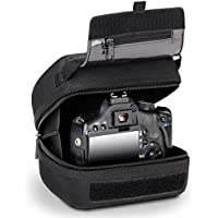 Quick Access DSLR Hard Shell Camera Case with Molded EVA Protection, Padded Interior, Holster Belt Loop and Rubber Coated Handle by USA Gear - Works W/Nikon D3400-Canon Rebel SL2-Pentax K-70 and More