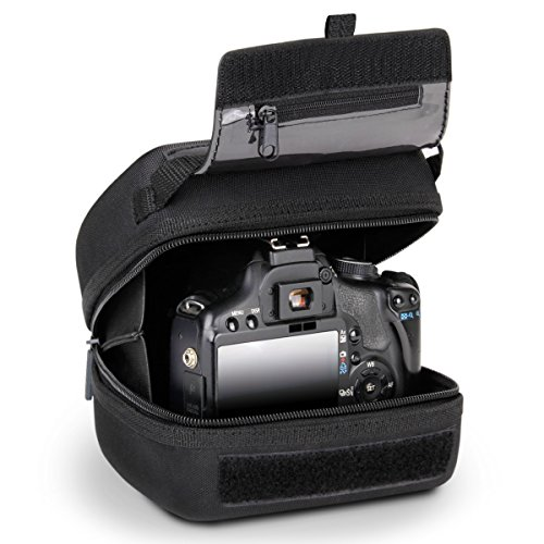 USA GEAR Quick Access DSLR Hard Shell Camera Case (Black) with Molded EVA Protection, Padded Interior, Holster Belt Loop and Rubber Coated Handle - Compatible W/Nikon, Canon, Pentax, Olympus & More