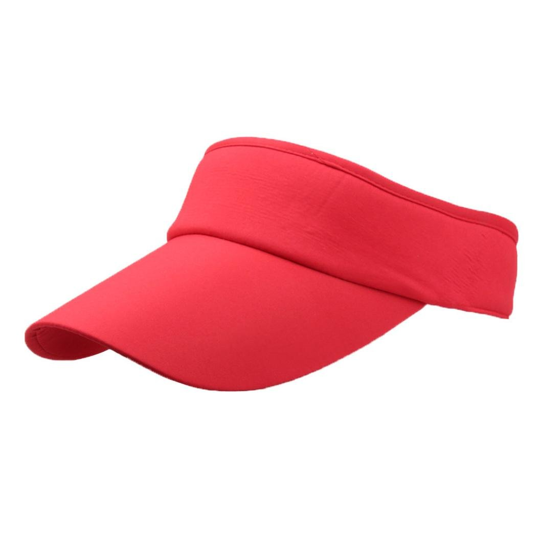 Napoo-Hat Men Women Classic Solid Sport Headband Sun Sports Visor Hat Cap (B)
