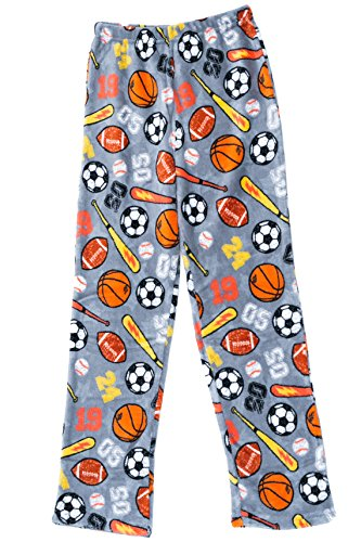 Prince of Sleep Plush Pajama Pants - Fleece PJs for Boys, Grey - Sports, Boys' 10-12 Boys Pajama Bottoms