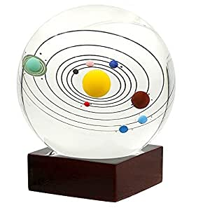 ShinMor 3D Solar System Crystal Ball with Wooden Stand Best Gift for Teacher of Physics friend and Kids Gift