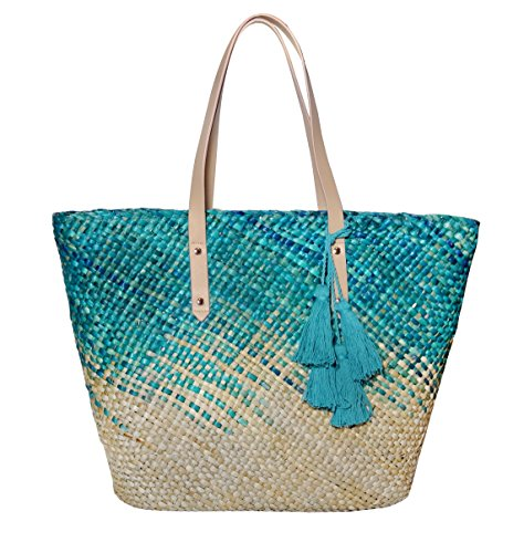 Straw Beach Tote Shoulder Bag Womens Large - Washable Lining BEACH'D (Hawaiian Ocean) (Blue) -