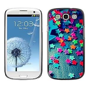 Caucho caso de Shell duro de la cubierta de accesorios de protección BY RAYDREAMMM - Samsung Galaxy S3 I9300 - Stars Candy Decoration Design Party Colorful