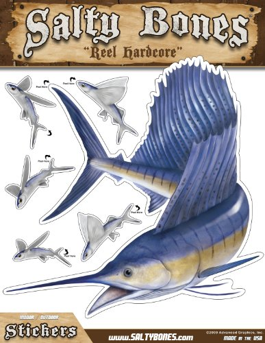 - Salty Bones BMEG4005 Large Sailfish Action Decal, 13.5-inches by 10.5-inches