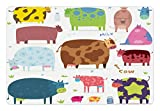 Lunarable Cartoon Pet Mat for Food and Water, Cartoon Design Cute Cows Colorful Barnyard Animals Bucket Farm Theme, Rectangle Non-Slip Rubber Mat for Dogs and Cats, White Brown Pink Blue