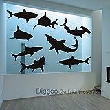 kids wall decals sharks - Shark Wall Decal Kids Room Decor Ocean Life Wall Sticker Beach Decor Ocean Themed(Dark gray,s)