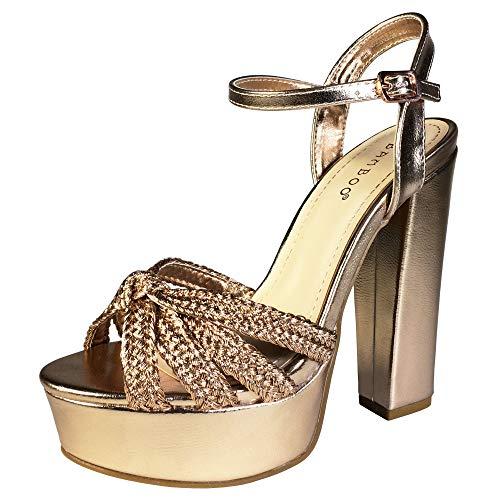 BAMBOO Women's Braided Strap Chunky Heel Platform Sandal with Quarter Strap, Rose Gold PU, 9.0 B - Platform Braided