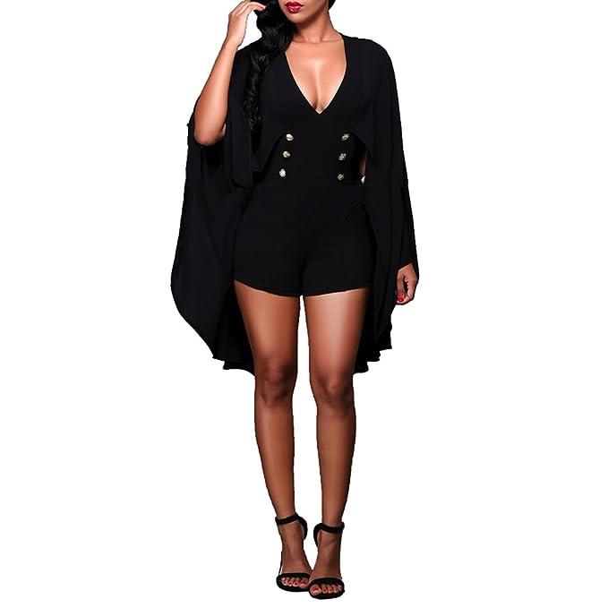01ad857535b Amazon.com  Bodycon4U Womens Sexy V Neck Cap Sleeve Chiffon Short Romper  Dress Jumpsuit  Clothing