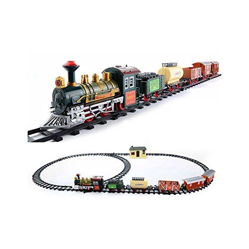 The Deluxe Continental Classic Battery Operated Kids Toy Train Set Light Sound (Plastic Set Train)