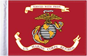 "Pro Pad Sleeved 6""x9"" Retired Marine Corps Motorcycle Flag"