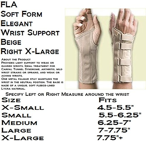 Florida Orthopedics Soft Form Elegant Wrist Support, Beige, Right X-Large