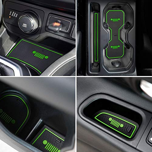 TOPPOWER Door Mats Gate Slot Mat Cup Pads Center Console Liner Accessories 16PCS for Jeep Renegade 2018(Green)