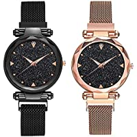 TIMESOON Analogue Quartz Movement Black dial Wrist Watches for Ladies & Girls Pair of 2