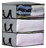 SLEEPING LAMB Storage Bag Organizers, Clothing Storage Containers for Clothes, Sweater, Blanket, Comforter, Bedding in Bedroom, Closet, 3 Piece Set(Grey)